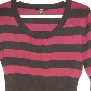 Wine Red with Black Striped Cozy Women's Top